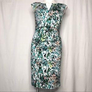 Adrianna Papell Watercolor Floral Print Dress